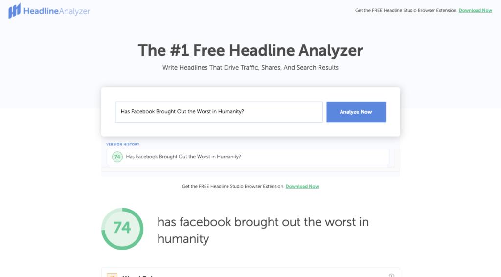 CoSchedule Headline Analyzer example